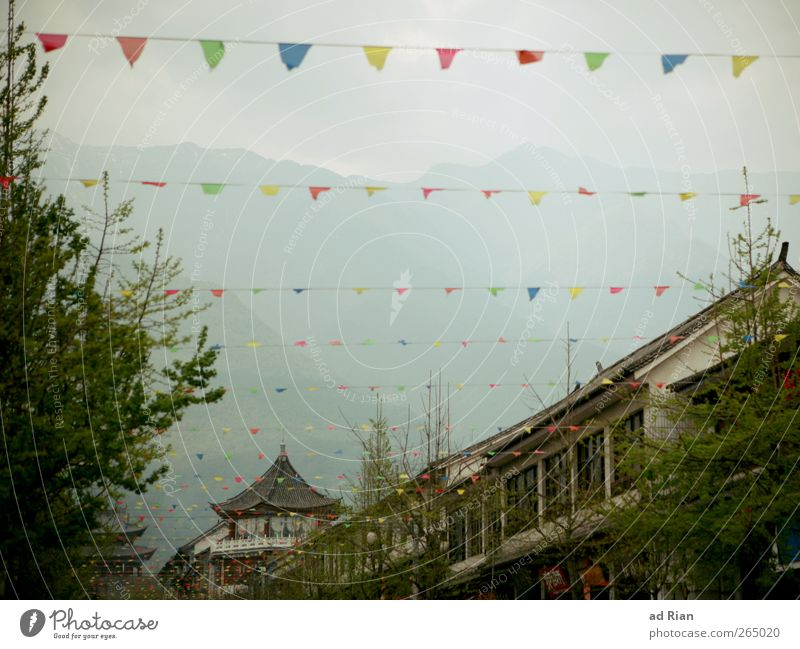sky jewellery Flag Decoration Landscape Clouds Park Rock Mountain Peak Dali China Yunnan Village Small Town Old town Deserted House (Residential Structure)