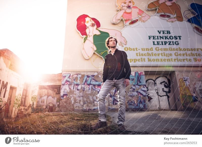 Human being Youth (Young adults) City Adults Life Wall (building) Graffiti Freedom Building Wall (barrier) Style Germany Facade Masculine Trip 18 - 30 years