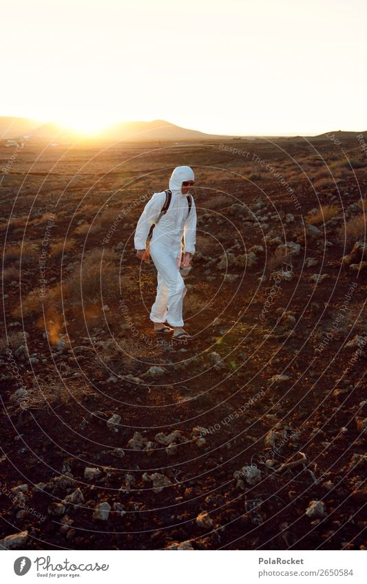 #AS# hiker Art Esthetic Extraterrestrial Exceptional Out of town Foreign Stranger Space suit Astronaut Space helmet Mars Martian landscape Creativity Costume