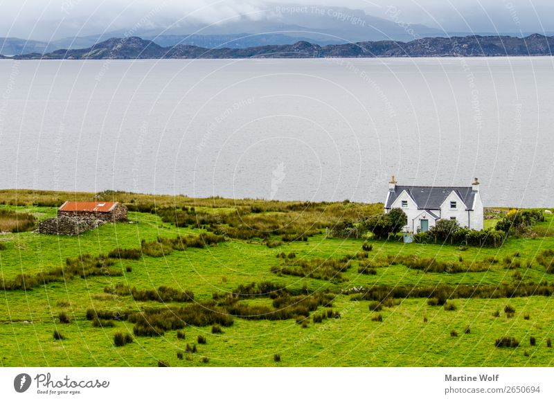 House by the sea Environment Nature Landscape Coast Ocean Atlantic Ocean Loneliness Idyll Far-off places Europe Gorß Great Britain Scotland Colour photo