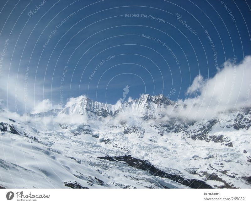 Swiss Alps Landscape Air Sky Clouds Winter Beautiful weather Ice Frost Snow Rock Mountain Switzerland Snowcapped peak Glacier Fresh Gigantic Cold Blue Silver