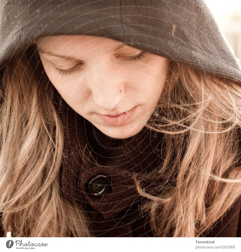 Human being Woman Face Hair and hairstyles Blonde Concentrate Jacket Piercing Coat Buttons Dreamily Hooded (clothing)