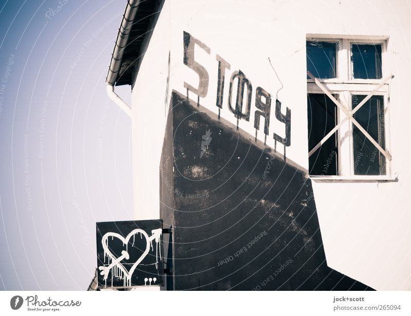 love story Club Disco Subculture Street art Typography Downtown Berlin House (Residential Structure) Facade Window Signs and labeling Graffiti Heart Arrow