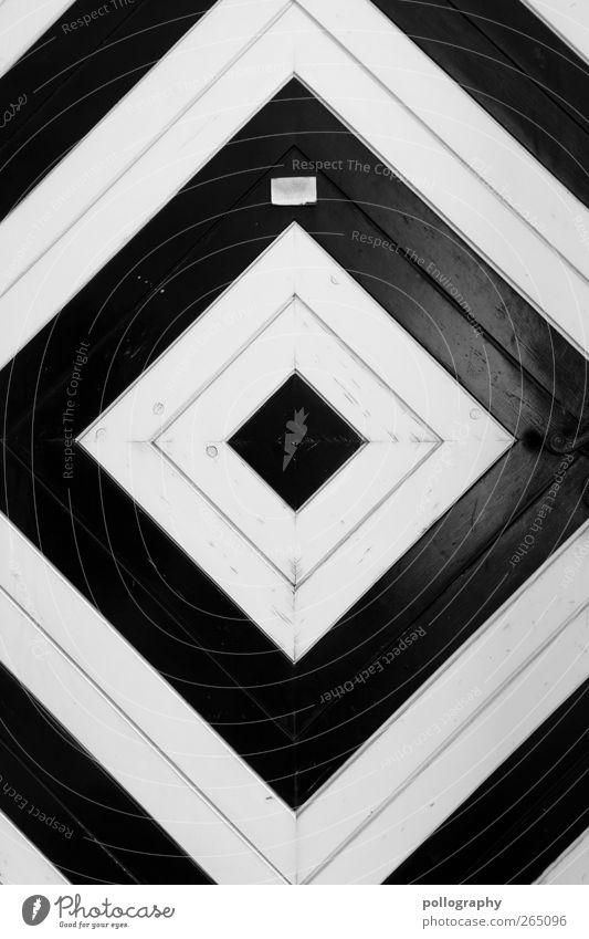 Right on target Door Name plate Esthetic Contentment Design Elegant Creativity Square Center point Point Line Corner Wood Black & white photo Exterior shot