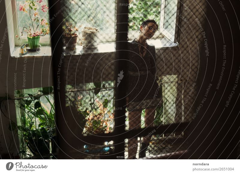 girl silhouette Human being Youth (Young adults) Young woman Summer Plant Green House (Residential Structure) Loneliness Window 13 - 18 years Wait Tall Dress
