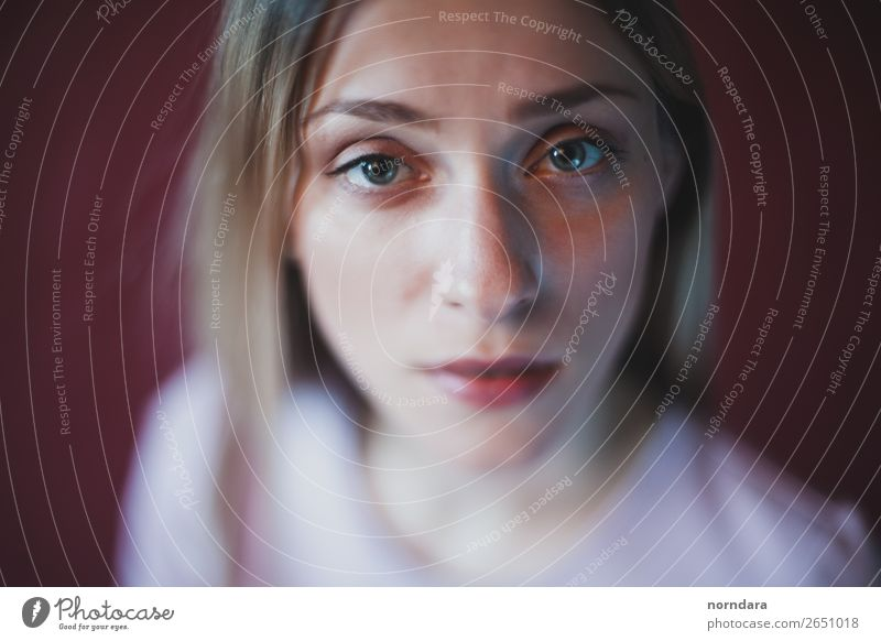 Blue eyes Human being Youth (Young adults) Young woman Beautiful Red Loneliness 18 - 30 years Face Eyes Adults Love Feminine Emotions Moody Blonde Esthetic