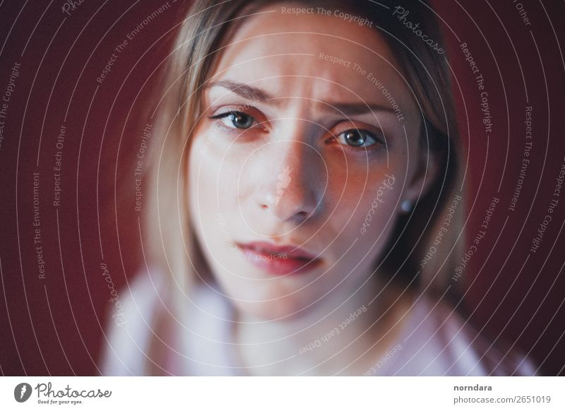 tragic eyes Feminine Young woman Youth (Young adults) Woman Adults Face Eyes 1 Human being 18 - 30 years Blonde Looking Cry Creepy Beautiful Gloomy Sadness