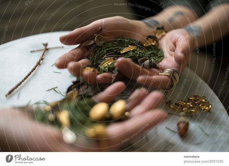 forest in hands Human being Nature Green Hand Tree Leaf Forest Lifestyle Wood Style Fashion Design Metal Gold Elegant Esthetic