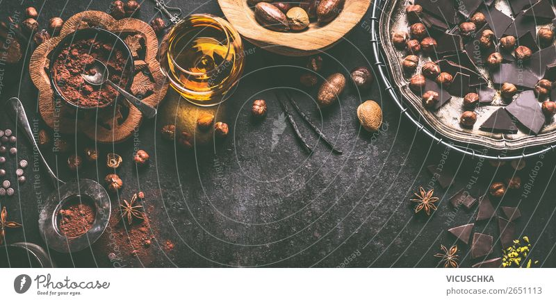 Chocolate, nuts and spices on a dark background Food Dessert Candy Nutrition Banquet Hot Chocolate Crockery Style Design Table Kitchen Background picture