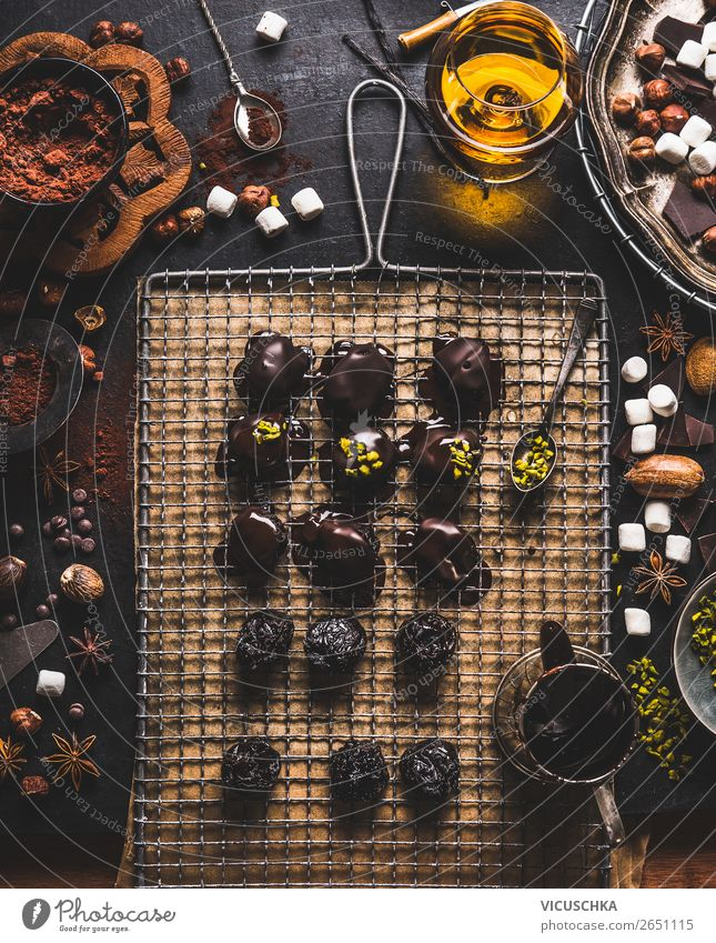 Handmade pralines and truffles Food Candy Chocolate Nutrition Banquet Organic produce Vegetarian diet Hot Chocolate Crockery Style Design Living or residing