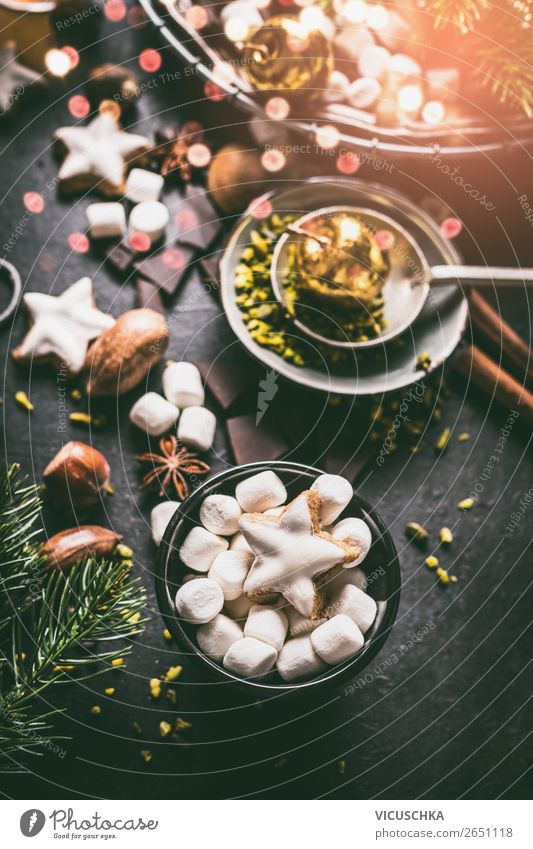 Marshmallow and cookies for Christmas Dessert Candy Chocolate Nutrition Banquet Beverage Hot Chocolate Crockery Shopping Style Design Winter Living or residing