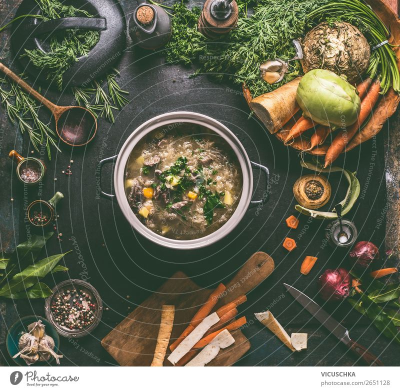 Cabbage soup or stew with ingredients Food Meat Vegetable Soup Stew Nutrition Lunch Organic produce Crockery Pot Design Living or residing Table Restaurant