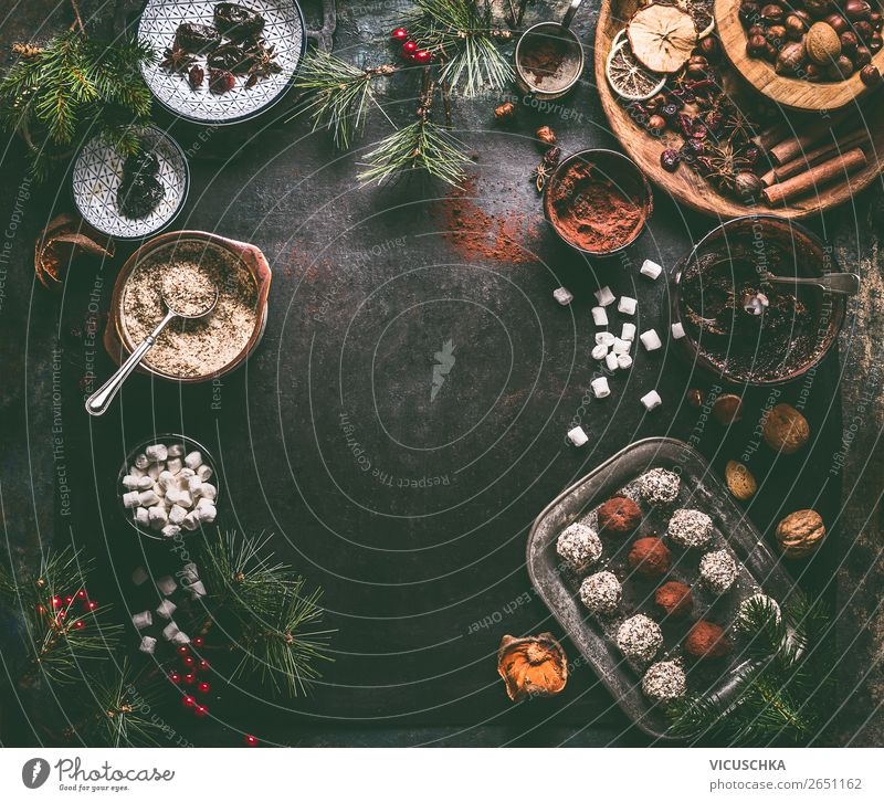 Vegan truffle pralines with ingredients for Christmas Food Candy Chocolate Nutrition Banquet Crockery Style Design Healthy Healthy Eating Winter