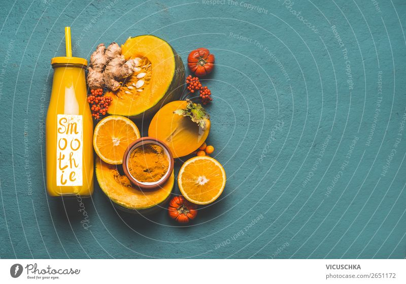 Bottle with pumpkin smoothie and ingredients Food Vegetable Herbs and spices Nutrition Breakfast Organic produce Vegetarian diet Diet Beverage Juice Design