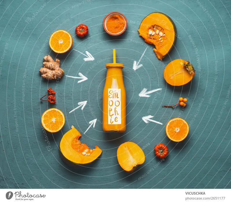 Orange Smoothie Ingredients Food Vegetable Fruit Nutrition Organic produce Vegetarian diet Diet Beverage Juice Bottle Shopping Style Design Healthy