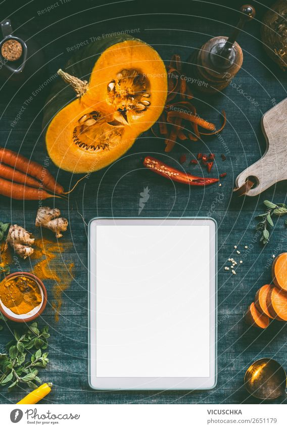 Tablet PC mockup for pumpkin dishes Food Vegetable Herbs and spices Nutrition Lunch Dinner Organic produce Vegetarian diet Diet Crockery Style Design