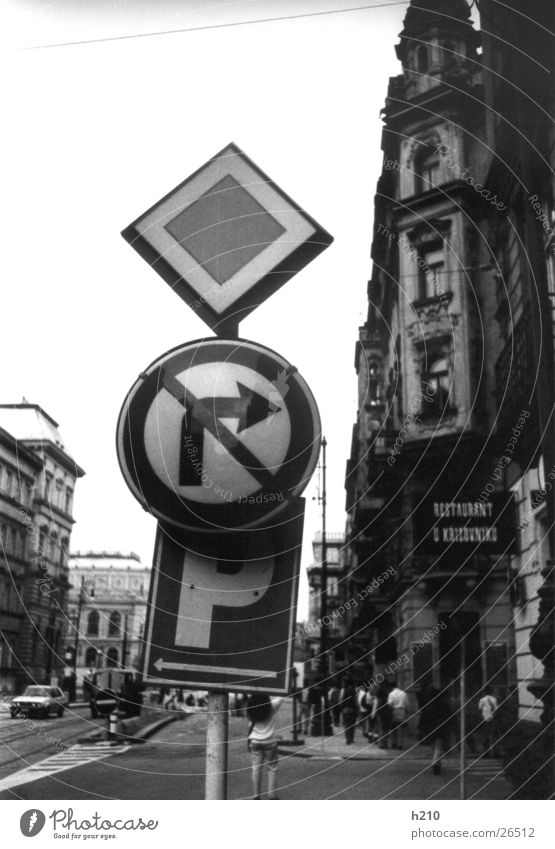 shield_prague Signs and labeling Transport Europe Black & white photo Street residential