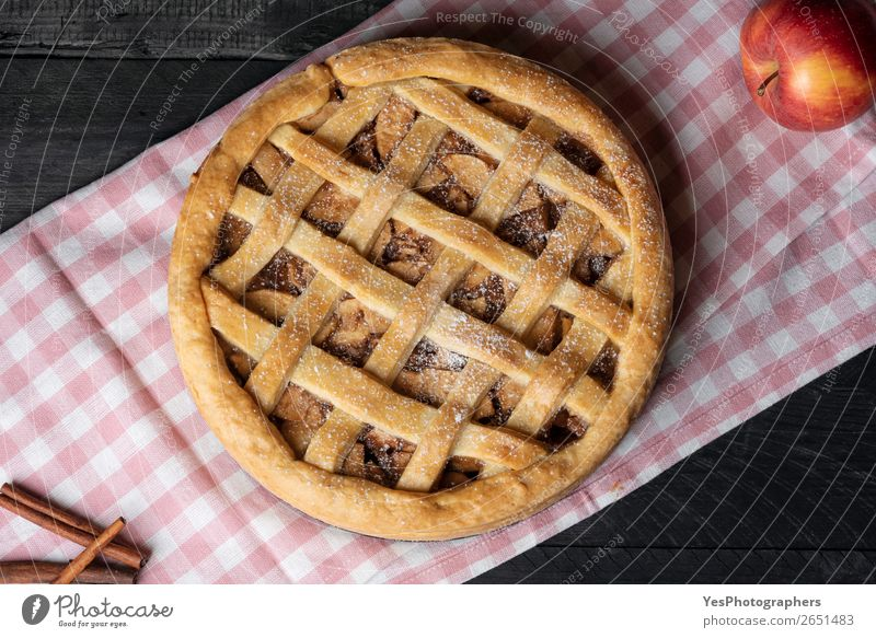 Home baked apple pie on kitchen towel. Above view. Christmas & Advent Feasts & Celebrations Pink Table Delicious Kitchen Candy Cake Tradition Dessert Cooking
