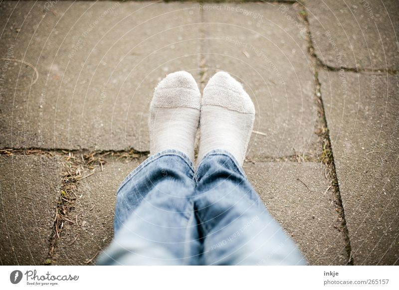 Monday - rest day! Lifestyle Calm Leisure and hobbies Vacation & Travel Feet 1 Human being Places Terrace Jeans Stockings Sit Wait Cuddly Warmth Break Time