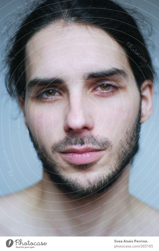 Human being Youth (Young adults) Beautiful Face Adults Hair and hairstyles Natural Masculine 18 - 30 years Observe Young man Longing Thin Facial hair Black-haired Moustache
