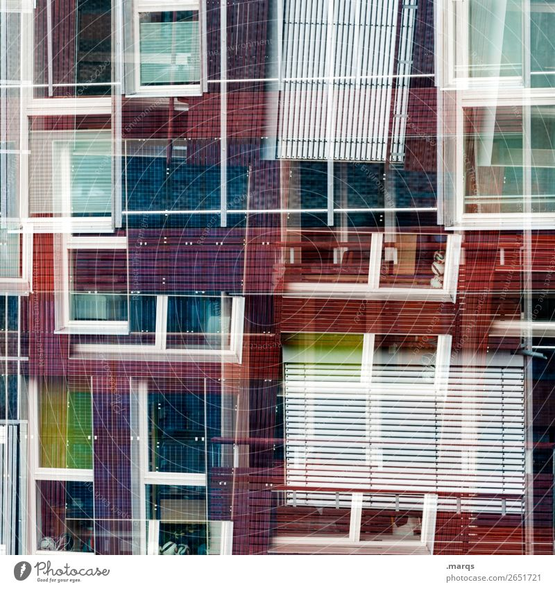 windows Style Design Facade Window Venetian blinds Line Exceptional Cool (slang) Uniqueness Modern Crazy Violet Red Black White Esthetic Chaos Colour