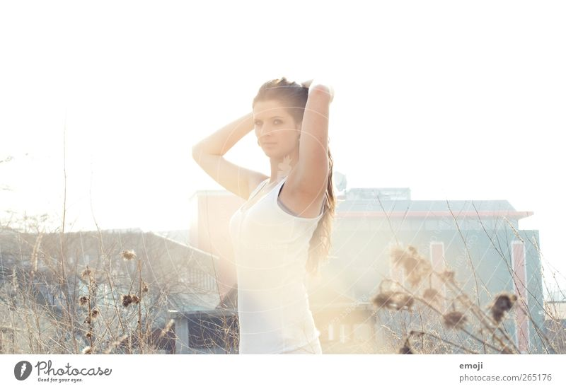 white Feminine Young woman Youth (Young adults) 1 Human being 18 - 30 years Adults Beautiful Colour photo Exterior shot Copy Space top Day Light Sunlight