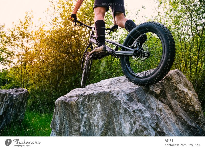 Extreme cyclism sport concept Freedom Summer Mountain Sports Cycling Man Adults Nature Tree Forest Rock Jump Strong Rider bike bicycle young Motorcycling biking