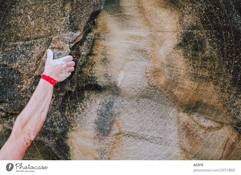 Arm of a rock climber man gripping the crack wall Joy Leisure and hobbies Adventure Mountain Hiking Sports Climbing Mountaineering Man Adults Hand Nature Rock