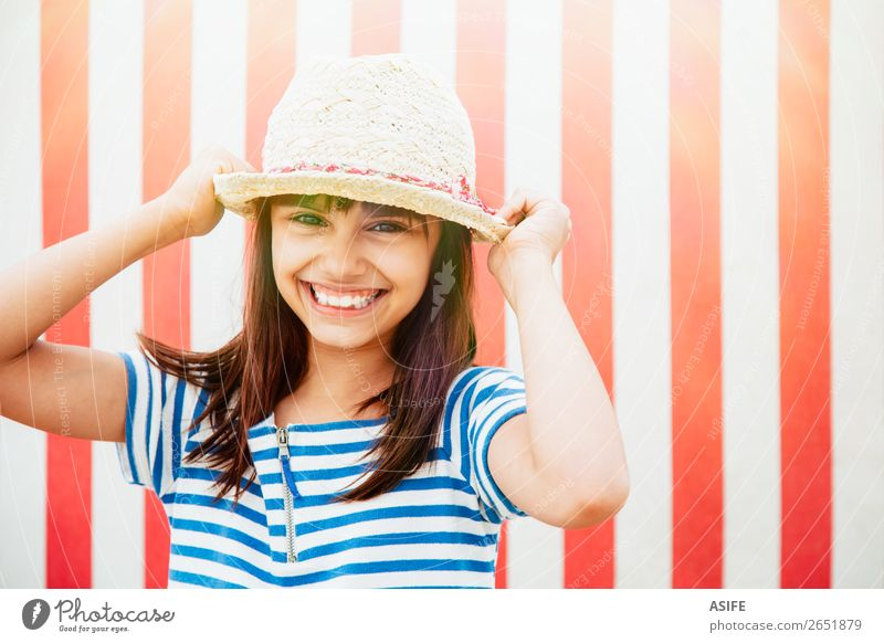 Happy little girl ready for vacation Beautiful Vacation & Travel Summer Beach Child Dress Hat Brunette Smiling Laughter Funny Cute Blue Red kid cheerful