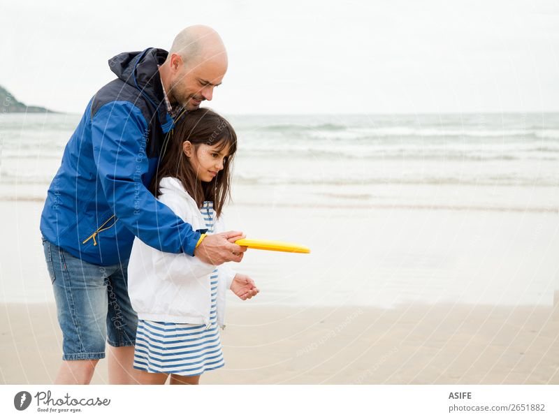 Dad is the best teacher Joy Happy Leisure and hobbies Playing Beach Ocean Child School Parents Adults Father Family & Relations Clouds Bald or shaved head