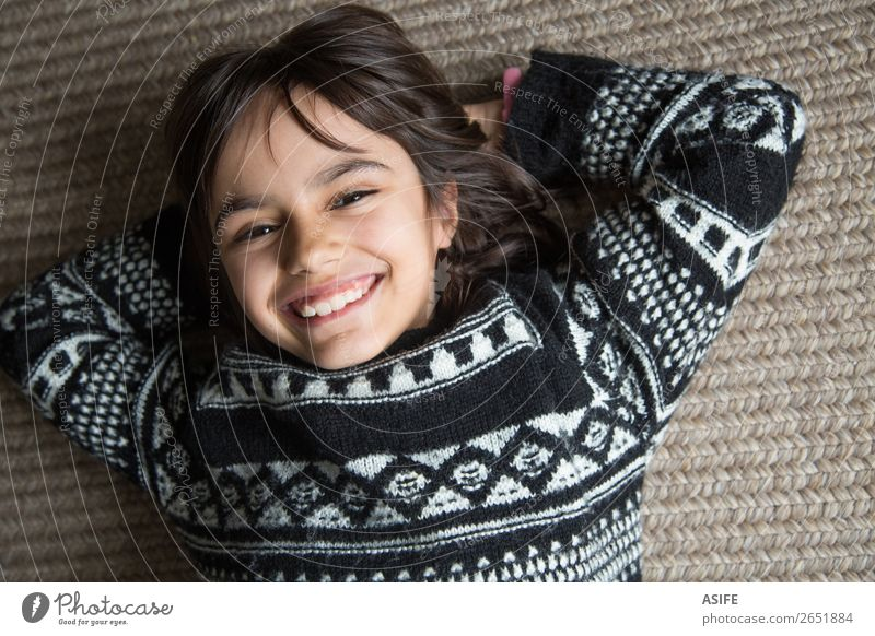 Big smile Joy Beautiful Face Child Human being Woman Adults Infancy Teeth Arm Sweater Brunette Smiling Laughter Happiness Small Cute Self-confident Comfortable