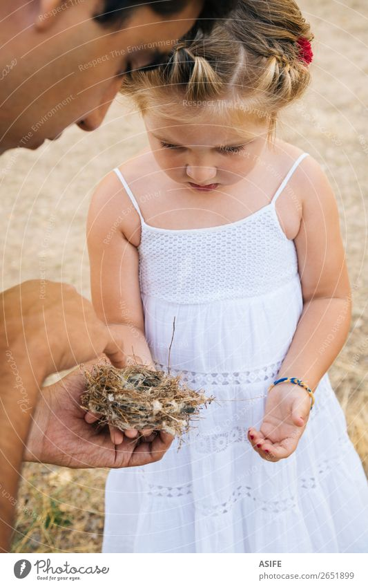 Dad teaching daughter about nature Life Summer Child School Toddler Parents Adults Father Hand Nature Blonde Bird Love Small Curiosity Cute Nest Daughter girl