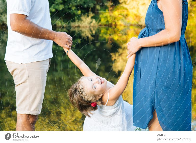 Funny pregnant family Woman Child Nature Man Summer Beautiful Green Hand Joy Lifestyle Adults Love Family & Relations Happy Playing