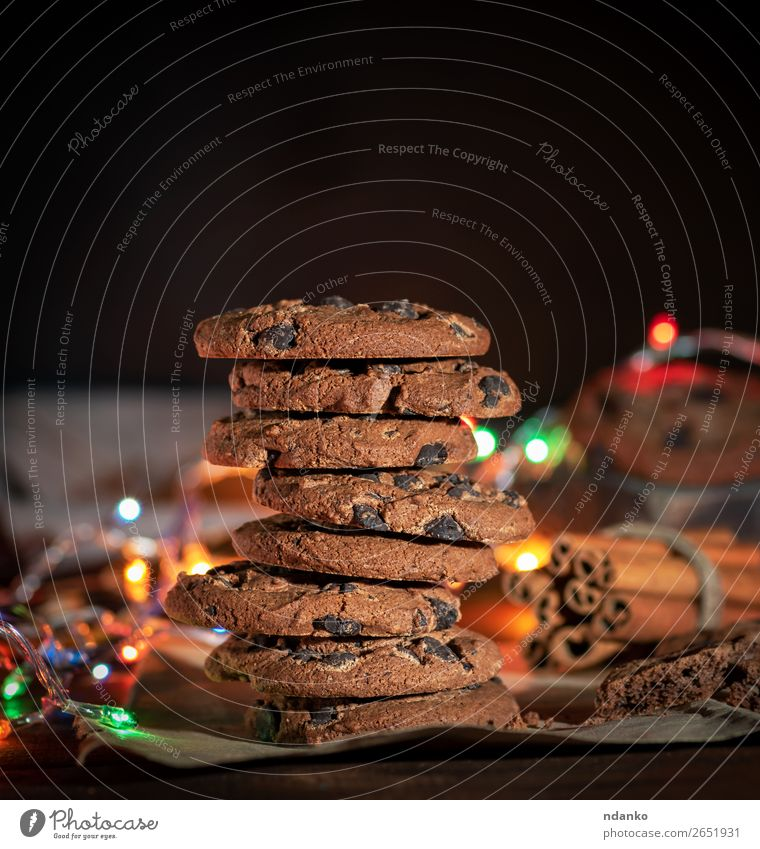 stack of round chocolate cookies Dessert Candy Breakfast Christmas & Advent New Year's Eve Wood Dark Delicious Brown Tradition Cookie food sweet Tasty Rustic