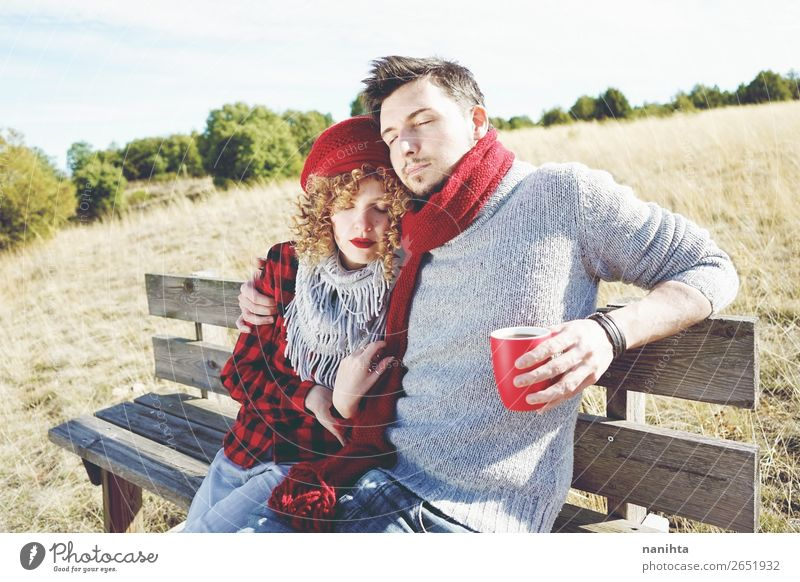 A couple of happy young people in love Coffee Tea Lifestyle Joy Happy Wellness Relaxation Calm Sunbathing Human being Masculine Feminine Woman Adults Man