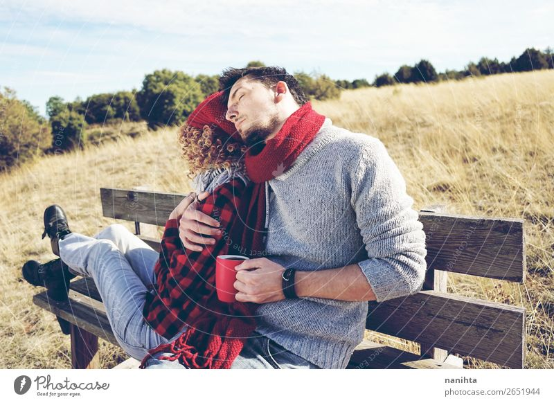 A couple of happy young millennials in love Coffee Tea Lifestyle Happy Relaxation Calm Sunbathing Human being Masculine Feminine Young woman