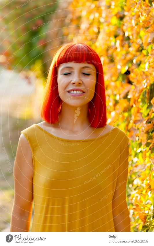 Beautiful red haired woman with closed eyes in a park Lifestyle Style Happy Hair and hairstyles Face Wellness Calm Summer Human being Woman Adults Nature Plant