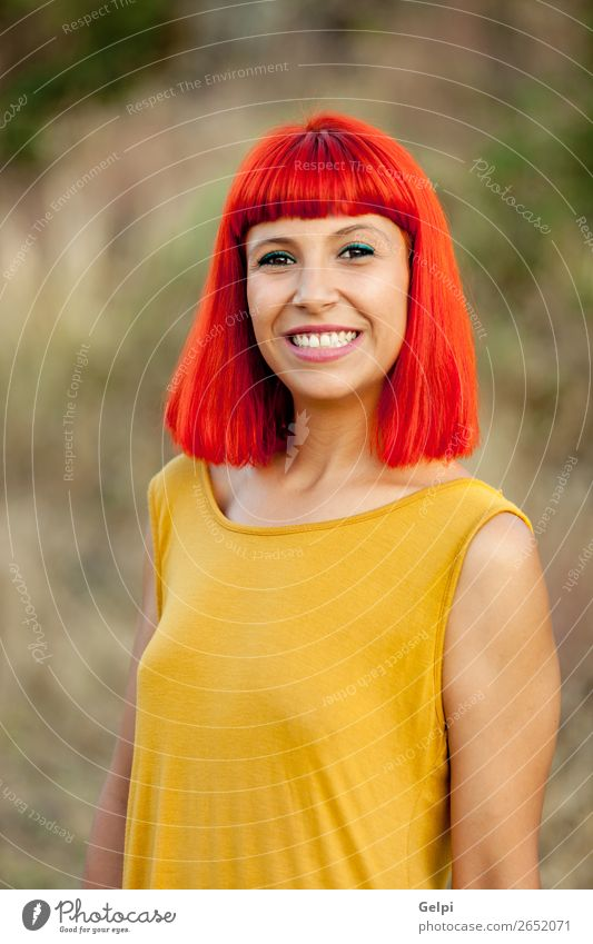 Red haired woman relaxed in a park Lifestyle Style Joy Happy Beautiful Hair and hairstyles Face Wellness Calm Summer Human being Woman Adults Nature Plant Park