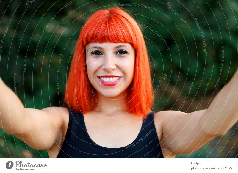 Excited woman with red hair enjoing life Lifestyle Beautiful Body Face Wellness Calm Vacation & Travel Freedom Summer Human being Woman Adults Nature Forest