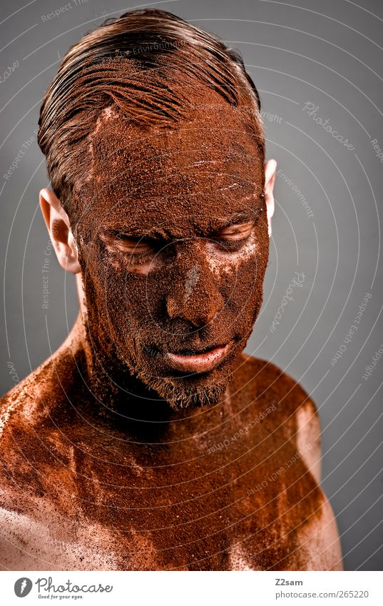 destroyed Coffee Human being Masculine Young man Youth (Young adults) 18 - 30 years Adults Sculpture Dream Sadness Esthetic Dirty Dark Honor Power Grief Fatigue