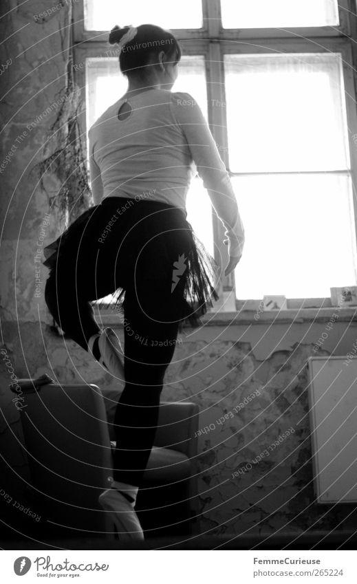 Ballet II. Woman Adults Legs Feet 1 Human being Esthetic Movement Rotation Tip of the toe Ballerina Ballet shoe tutu Chignon Practice Sports Training Motive