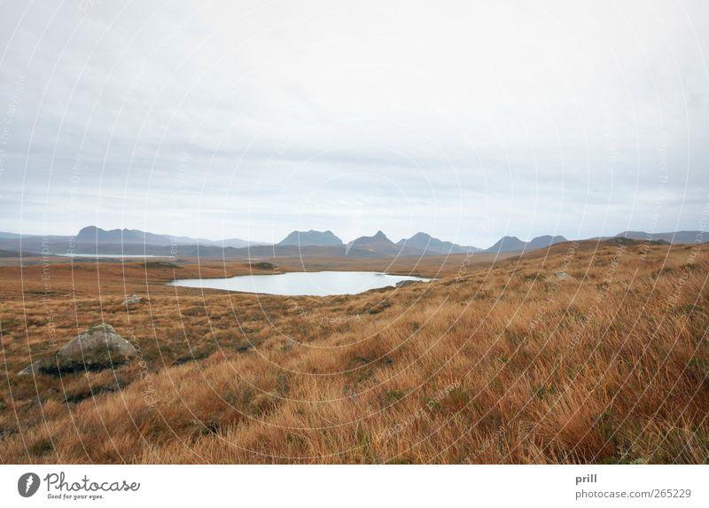 scottish landscape with distant hills Vacation & Travel Tourism Nature Landscape Plant Water Clouds Climate Weather Wind Grass Bushes Bog Marsh
