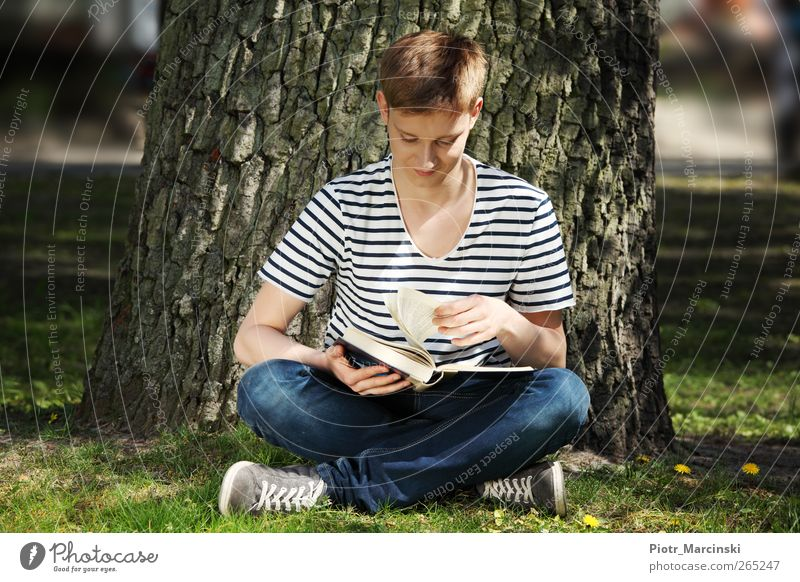 Teen boy reading a book Human being Youth (Young adults) Tree Sun Summer Joy Adults Relaxation Life Grass Garden Park Blonde Sit Study Happiness