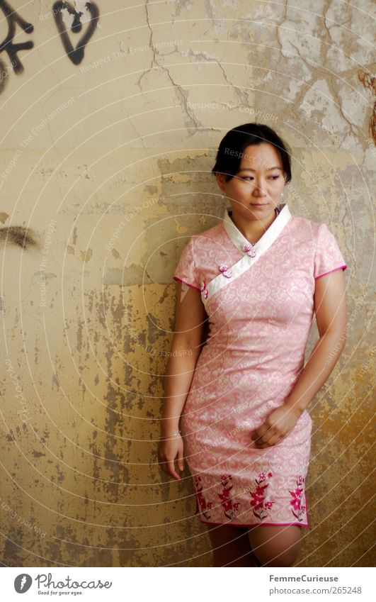 Graceful I. Woman Adults Head Arm Legs 1 Human being Esthetic Power Asians Chinese Dress Tradition Pink Wall (building) Broken Worn out Wallpaper Brittle Stand