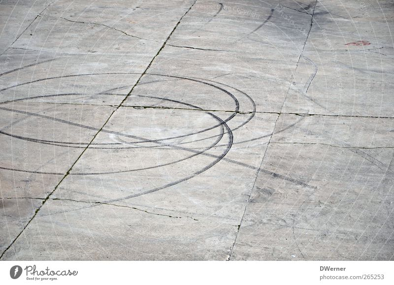 tracks Concrete Line Stripe Gray Tracks Subdued colour Exterior shot Copy Space top Copy Space bottom Day Skid marks Concrete slab Runway Deserted Graphic