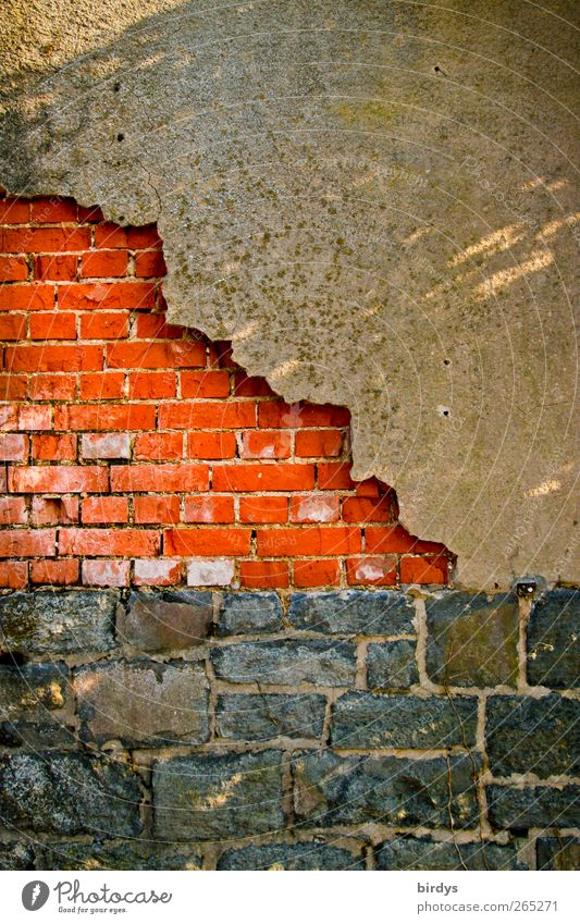 wall paints Wall (barrier) Wall (building) Facade Illuminate Authentic Town Red Black Decline Change Brick wall Quarrystone facade Basalt Flake off Tumbledown