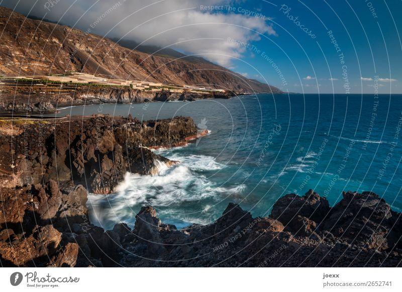 thousandth moments Nature Water Sky Clouds Beautiful weather Rock Mountain Waves Coast Ocean Island La Palma Sharp-edged Maritime Wild Blue Brown White Horizon