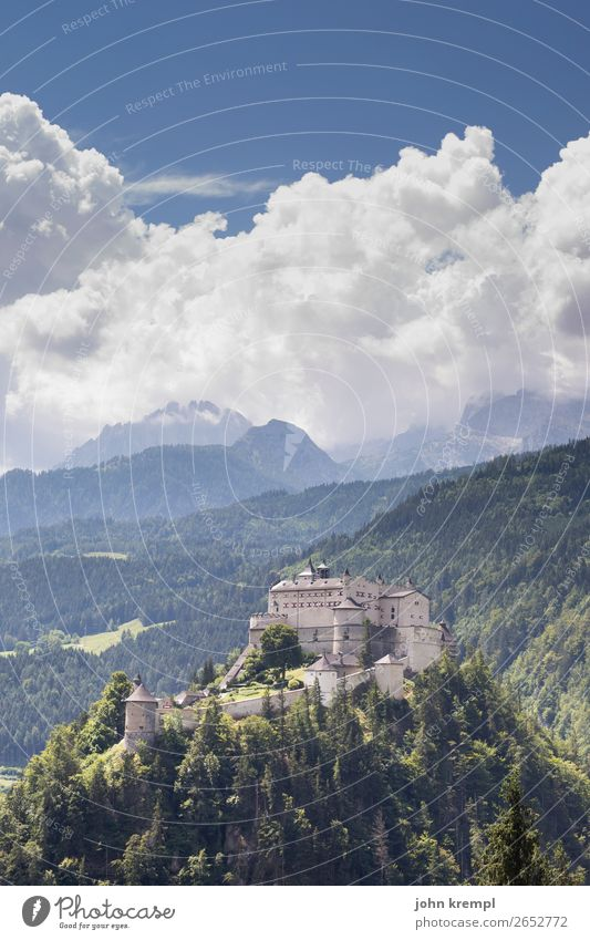 I Hohenwerfen Castle - The Promise Medieval times Knight Historic Tower Sky Clouds Fortress Salzburg Forest Exterior shot Tourist Attraction Landmark Fairy tale