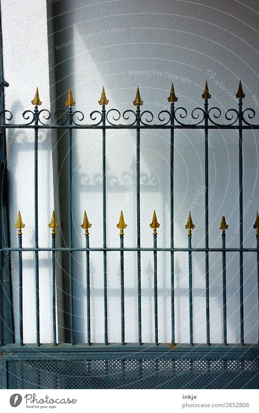 gate Deserted Iron gate Gate Wrought iron Metal Gold Ornament Arrow Point Old Historic Thorny Colour photo Exterior shot Close-up Day Light Shadow Contrast