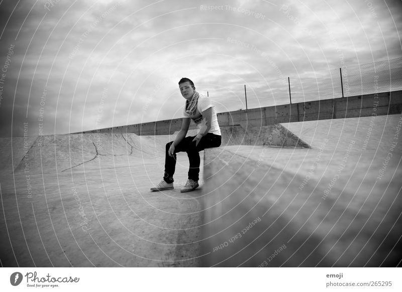 skate park Masculine Young man Youth (Young adults) 1 Human being 18 - 30 years Adults Sky Clouds Storm clouds Climate Climate change Bad weather Threat